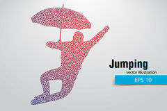 Silhouette of a jumping man from triangles. Text on a separate layer, color can be changed in one click Royalty Free Stock Images