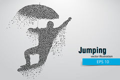Silhouette of a jumping man from triangles. Stock Images