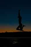 Silhouette jumping Royalty Free Stock Photography