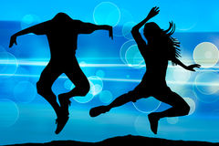 Silhouette of jumping teenagers Royalty Free Stock Images