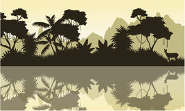 Silhouette of jungle with mountain background scenery Stock Images
