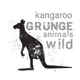 Silhouette Kangaroo In Grunge Design Style Animal Icon. Vector Illustration stock illustration