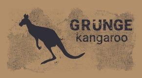 Silhouette Kangaroo In Grunge Design Style Animal Icon Stock Photo