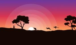 Silhouette of kangaroo at sunrise landscape Royalty Free Stock Photos