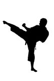 A silhouette of a karate man exercising Stock Photo
