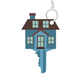 Silhouette key blue color with shape house. Vector illustration Stock Photo