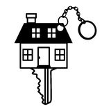 Silhouette key monochrome with shape house. Vector illustration Royalty Free Stock Photography