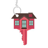 Silhouette key red color with shape house Royalty Free Stock Photos