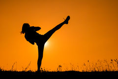 Silhouette of kick boxing girl exercising kick. Stock Image