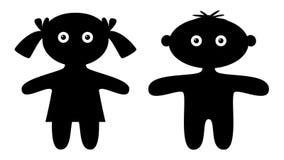 Silhouette kids blinking, seamless loop stock video