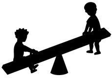 Silhouette of kids boys Royalty Free Stock Photo