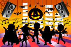 Silhouette Kids Dancing Halloween Party. Illustration featuring silhouette of kids or children wearing halloween costumes and dancing at halloween party. Eps Stock Image