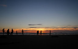 Silhouette of kids playing on beach. In sunset Stock Images