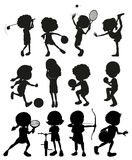 Silhouette kids playing different sports royalty free illustration