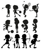 Silhouette kids playing sports vector illustration