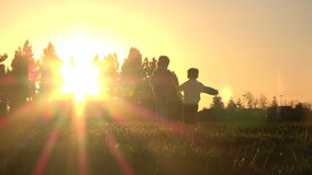 Silhouette of kids running away at sunset. Silhouette of happy kids running away together at sunset, slow motion stock footage