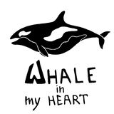 Silhouette killer whale with lettering - Whale in my heart. Vector monochrome illustration. Stock Photos