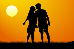 Silhouette kiss of young man and woman on sunset background, vector illustration. Stock Images