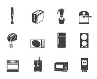 Silhouette Kitchen and home equipment icons Royalty Free Stock Photos