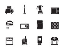 Silhouette Kitchen and home equipment icons Stock Photography
