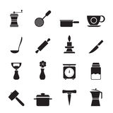 Silhouette Kitchen and household tools icons Royalty Free Stock Image