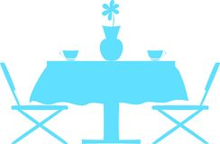 Silhouette of kitchen table with chairs Stock Image