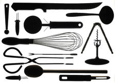 Silhouette of Kitchen Utencils. A arrangement of kitchen utensils in silhouette Royalty Free Stock Images