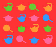 Silhouette of kitchen ware in color. Stock Photos