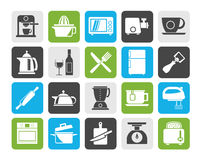 Silhouette Kitchenware objects and equipment icons Stock Image