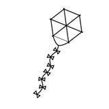 Silhouette kite hexagon shape flying Stock Photography