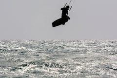 Silhouette Kiter Jumping Stock Image