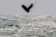 Silhouette Kiter Jumping 2 Stock Photography