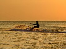 Silhouette of a kitesurf royalty free stock photo