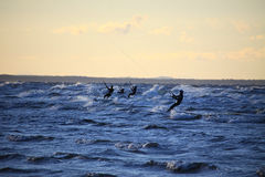 Silhouette of a kitesurf Stock Photography
