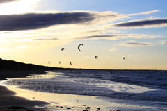 Silhouette of a kitesurf Royalty Free Stock Images