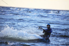 Silhouette of a kitesurf Stock Images
