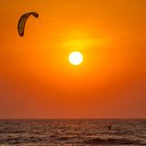 Silhouette of a kitesurfer Royalty Free Stock Photos