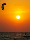 Silhouette of a kitesurfer Stock Photo