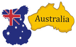 Silhouette of koala in Australian flag with  continent Stock Photography