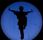 Silhouette of kongfu Royalty Free Stock Photography