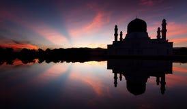 Silhouette of Kota Kinabalu mosque at sunrise in Sabah, East Malaysia Stock Image