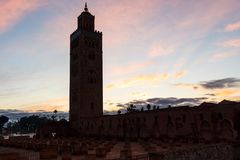 Koutoubia Mosque in Marrakesh at dawn Royalty Free Stock Image