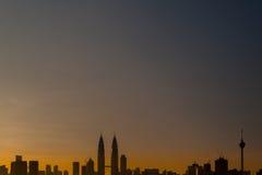 Silhouette of Kuala Lumpur at Sunrise Royalty Free Stock Photography