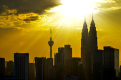 Silhouette of Kuala Lumpur twin towers Royalty Free Stock Photography
