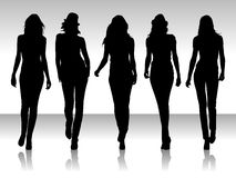 silhouette kvinnor stock illustrationer