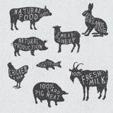 Silhouette la collection des animaux de ferme Photo libre de droits