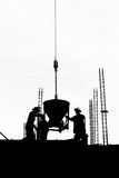 Silhouette labor cement working in construction site Royalty Free Stock Photo