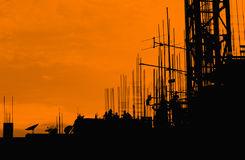 Silhouette labor working construct. Background Stock Photo
