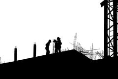 Silhouette labor working in construction site Royalty Free Stock Photography