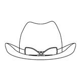 Silhouette lace cowboy hat with bow retro design. Illustration Royalty Free Stock Image